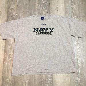 Vintage stx navy lacrosse graphic logo t shirt